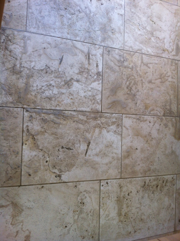 Honed Travertine before cleaning