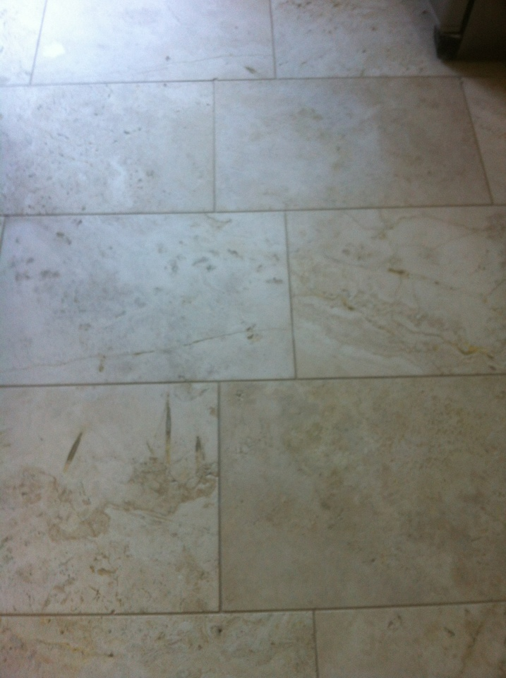 Travertine in Kitchen near Keighley after cleaning