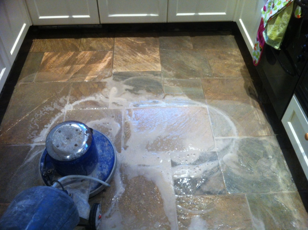 Quartzite Tiled Floor in leeds during cleaning