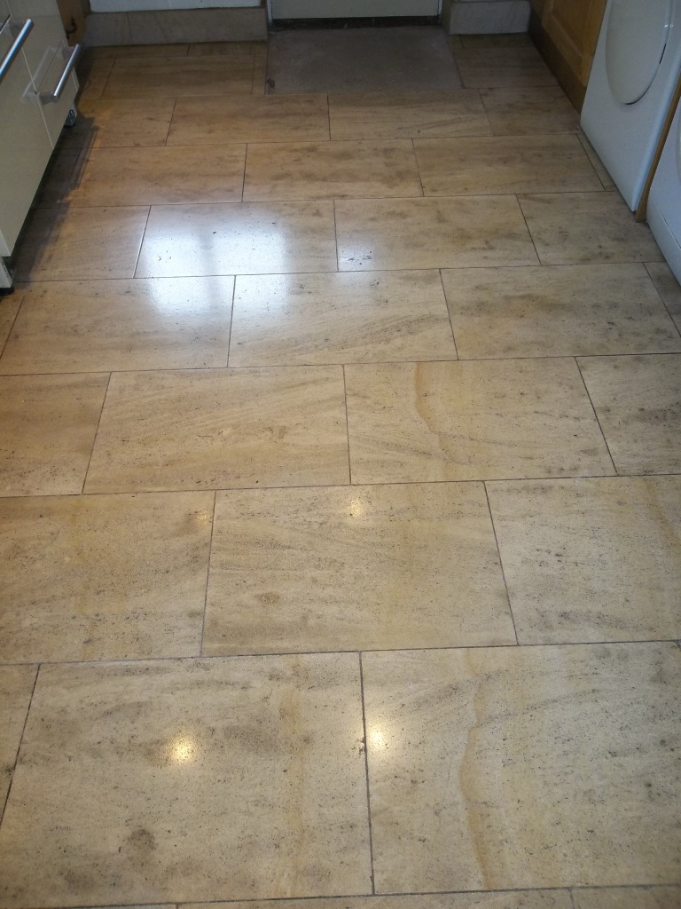 French Limestone Kitchen Floor After Cleaning and Polishing Eldwick
