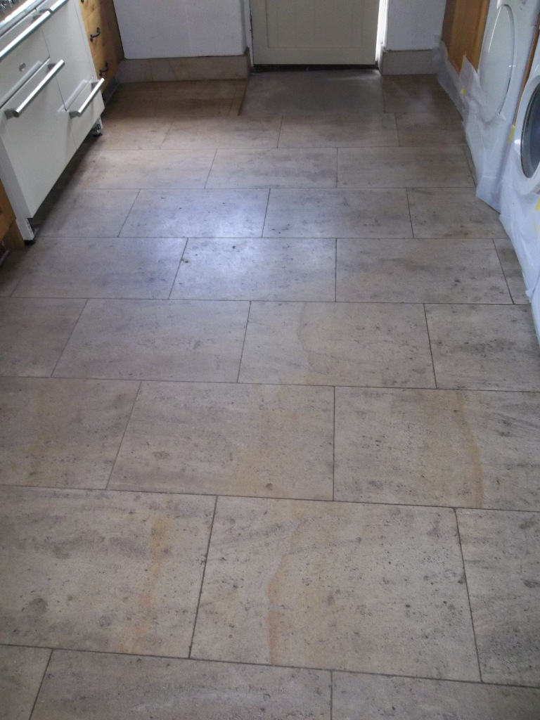 French Limestone Kitchen Floor Before Cleaning and Polishing Eldwick