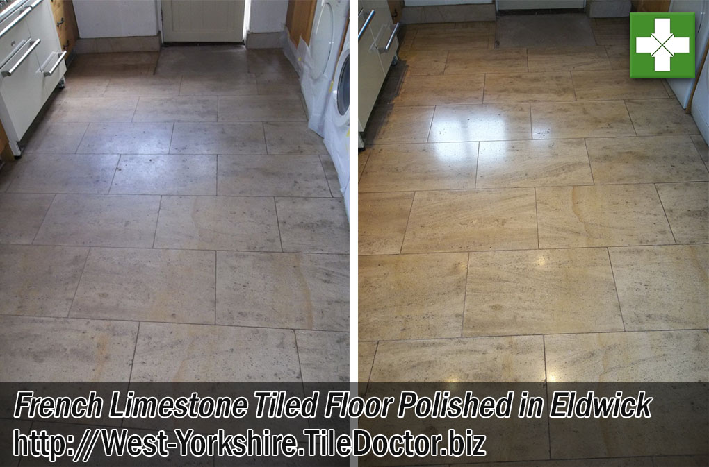 French Limestone Tiled Floor Before and After Polishing Eldwick