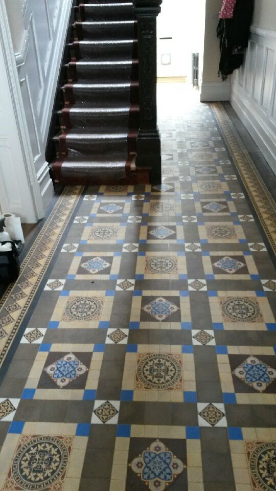 Victorian Tiled Hallway Before Cleaning Hebden Bridge