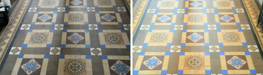 Victorian Tiled Hallway Floor Before and After Cleaning Hebden Bridge