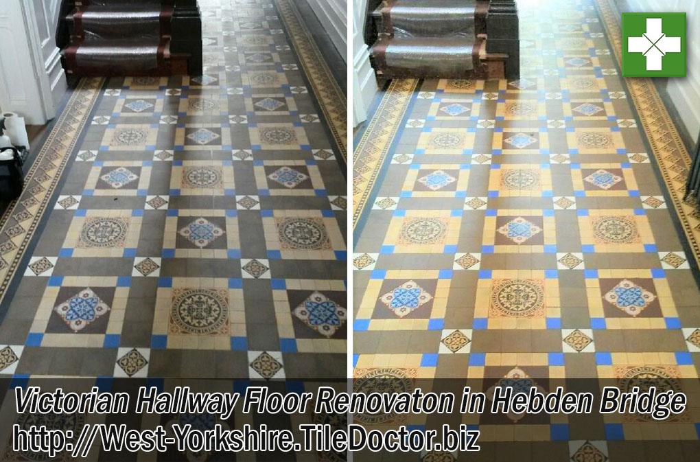Victorian Tiled Hallway Floor Before and After Cleaning Hebden Bridge