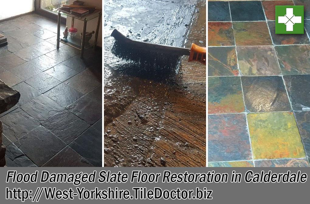Flood Damaged Slate Tiled Floor Before and After Restoration Calderdale