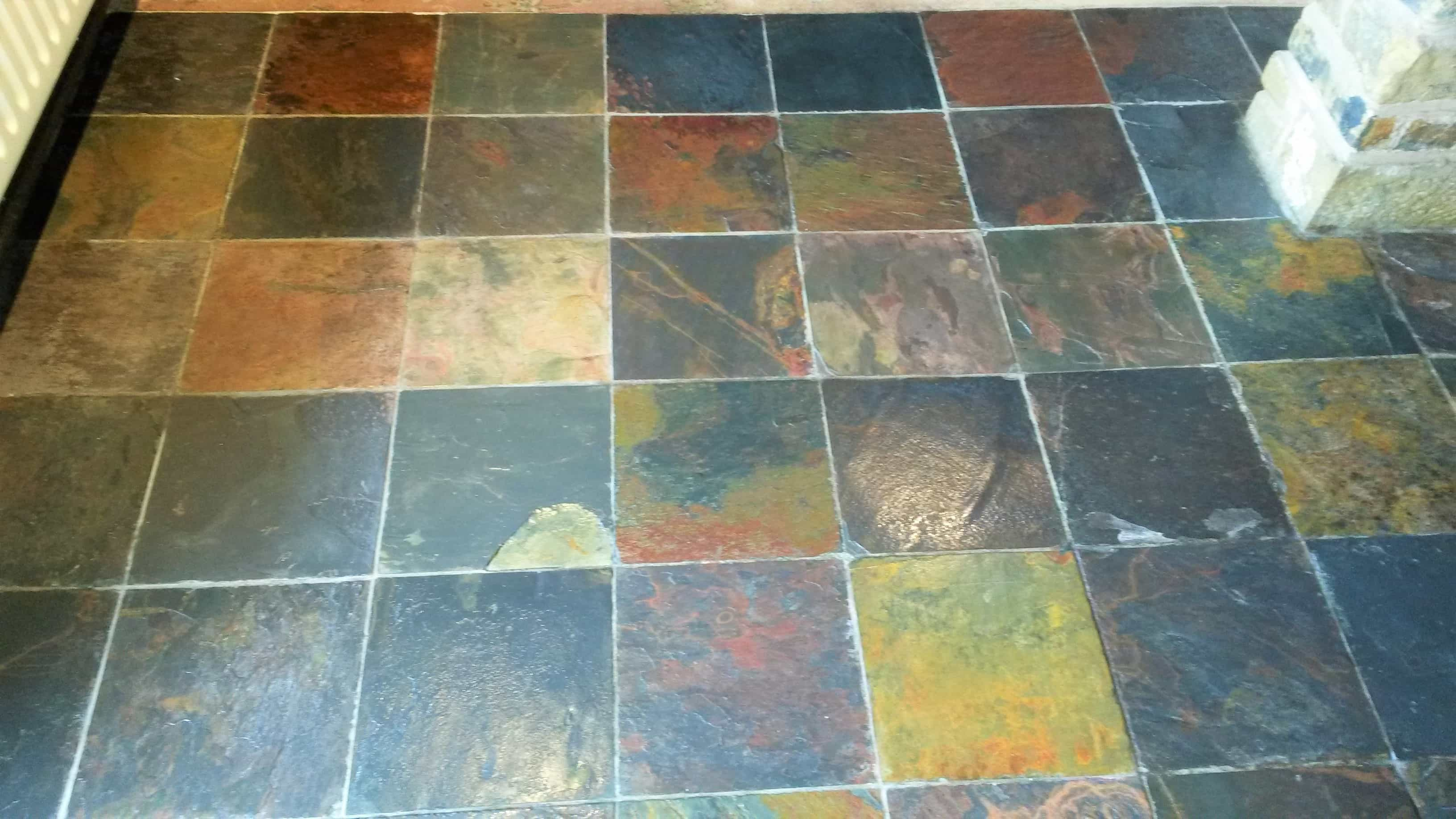 Slate Tiled Kitchen Floor After Cleaning Cragg Vale