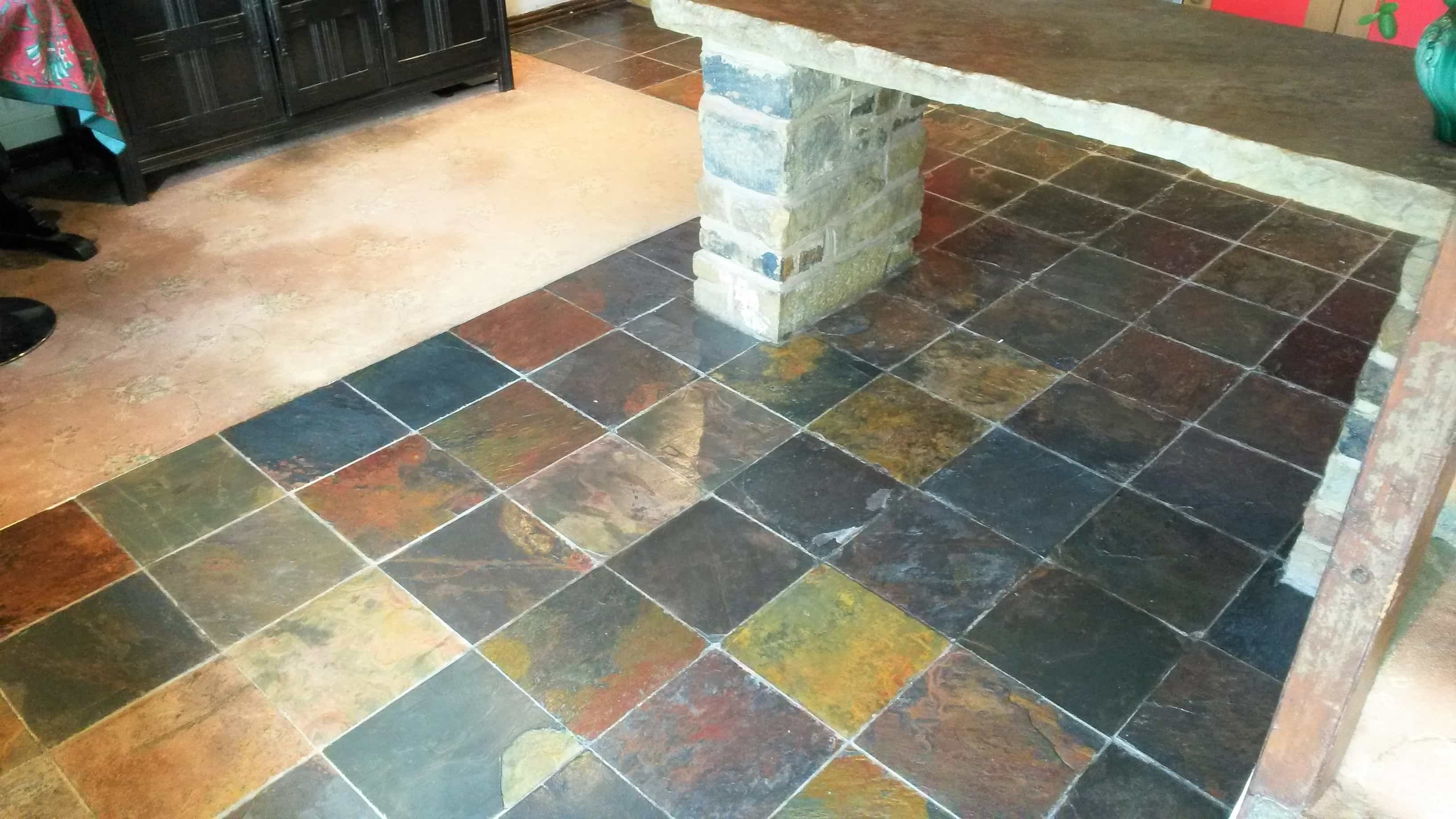 Slate Tiled Kitchen Floor Before Cleaning Cragg Vale