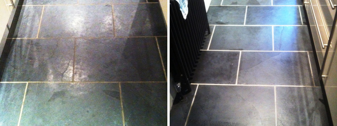 Cleaning and Sealing Black Slate floor tiles in Ilkley