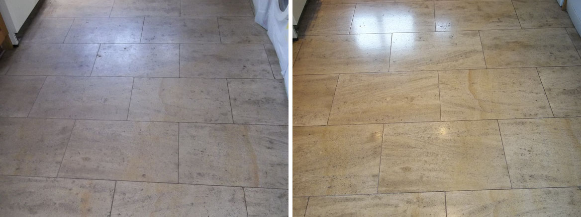 French Limestone Tiled Floor Cleaned and Polished in Eldwick