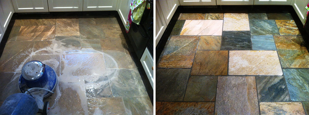 Quartzite Tiled Floor in leeds Before and After cleaning