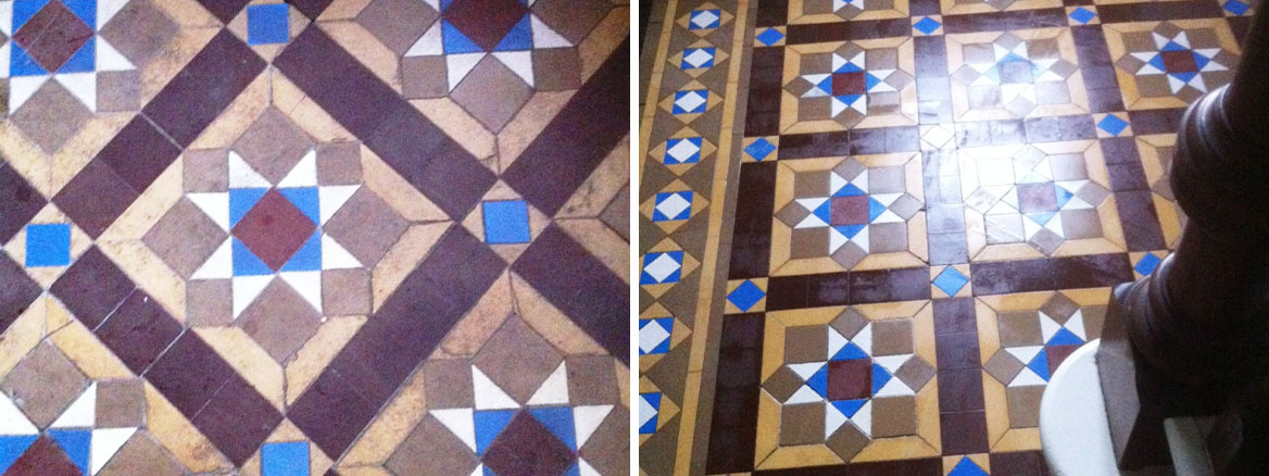 Victorian Tiled Floor stained with Bitumen in Heckmondwike