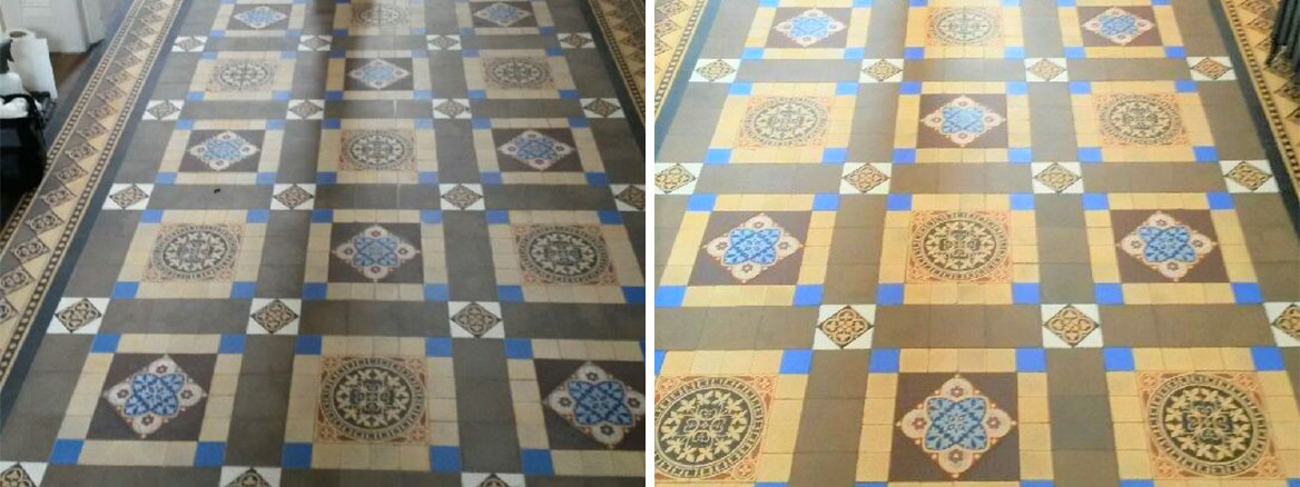 Victorian Tiled Hallway Before and After Cleaning Hebden Bridge
