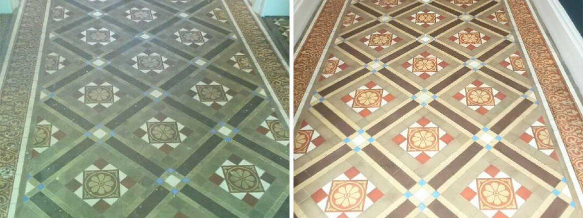 Victorian Tiled Hallway Before and After Renovation Cleckheaton Kirklees