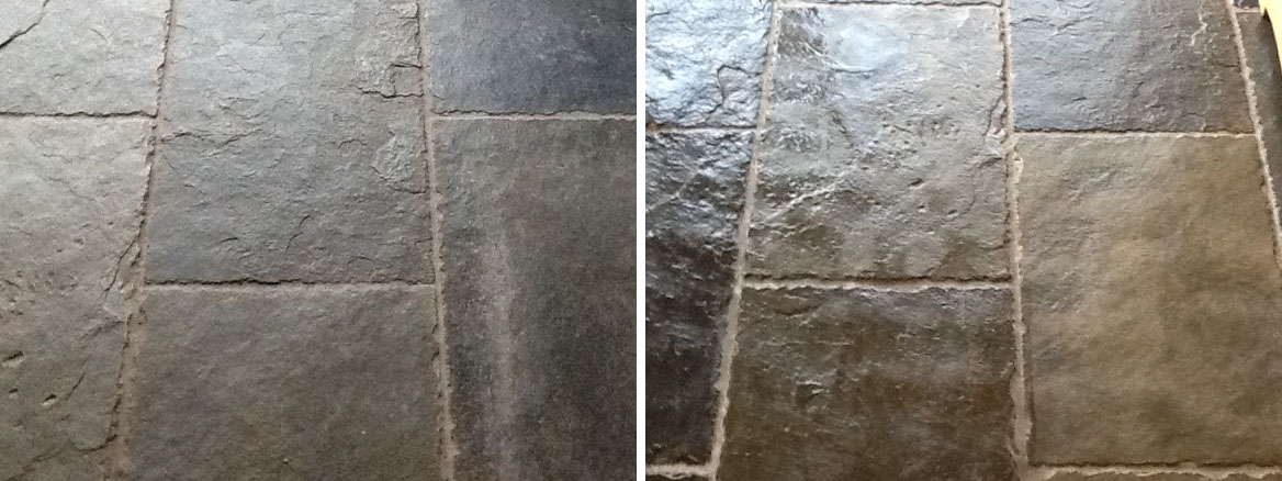 Cleaning and Sealing Slate floor tiles in Linton, Wetherby
