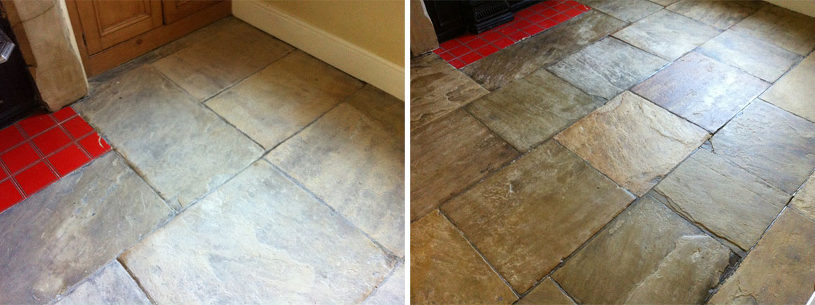 Yorkshire Stone floor in Ilkley West Yorkshire Before and After cleaned and sealed
