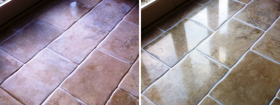 Travertine tiled floor Before and After